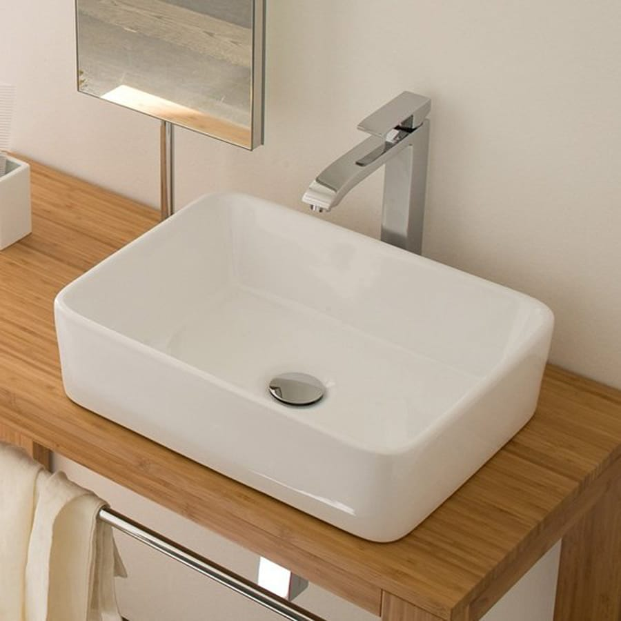 WS Bath Collections Linea Ceramic White Vessel Rectangular Bathroom Sink (Drain Included)