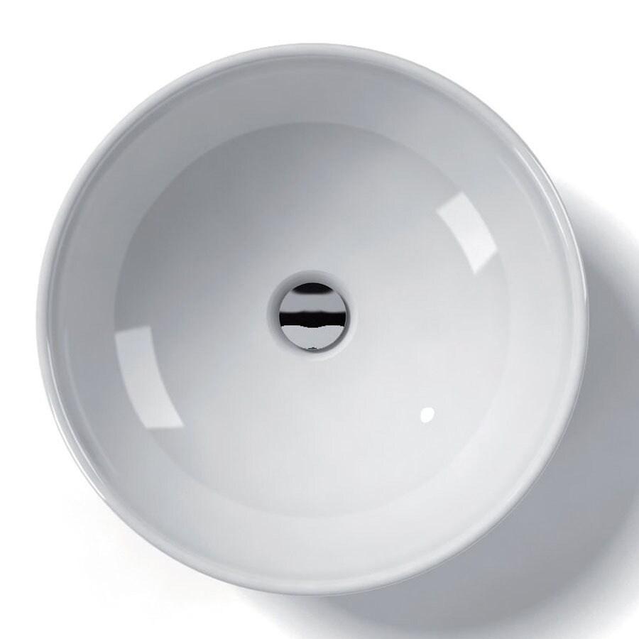WS Bath Collections Ceramica White Ceramic Vessel Round Bathroom Sink (Drain Included)