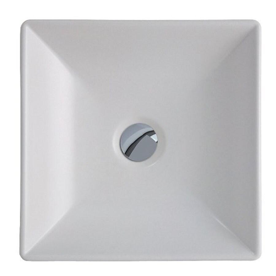 WS Bath Collections Ceramica White Ceramic Vessel Rectangular Bathroom Sink (Drain Included)