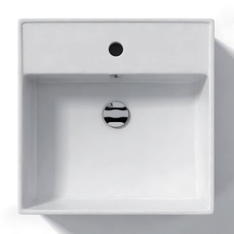 WS Bath Collections Ceramica White Ceramic Vessel Square Bathroom Sink (Drain Included)