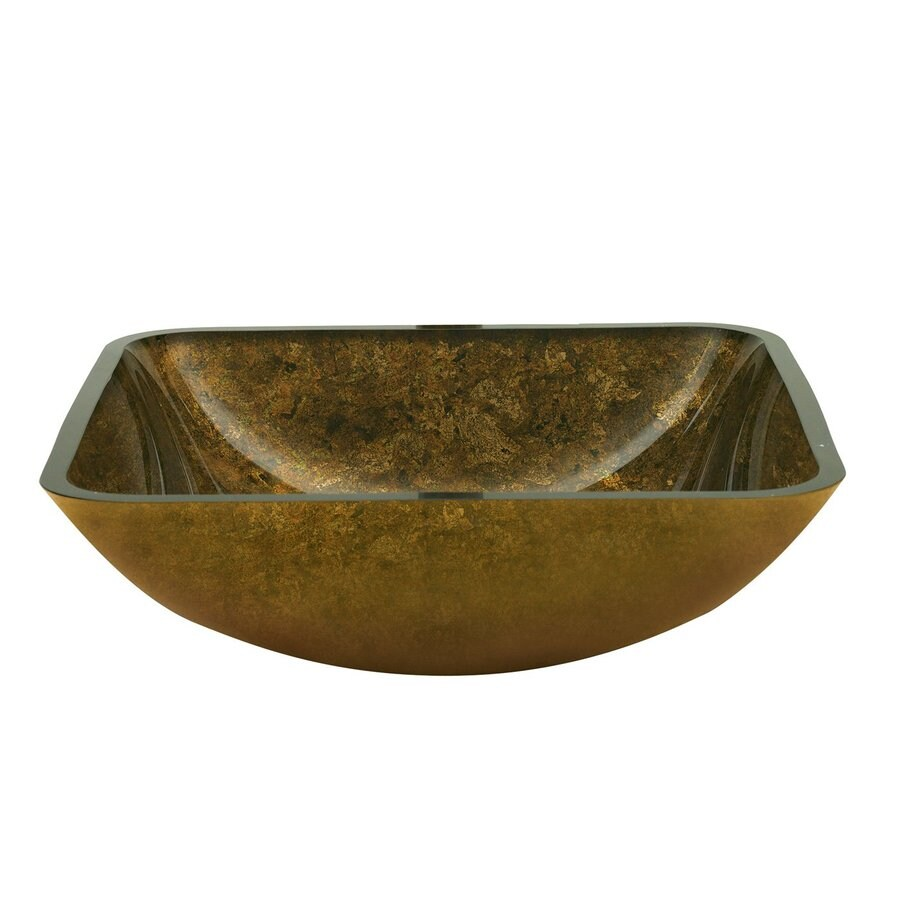 Shop yosemite home decor gold polished glass vessel square for Gold glass bathroom accessories