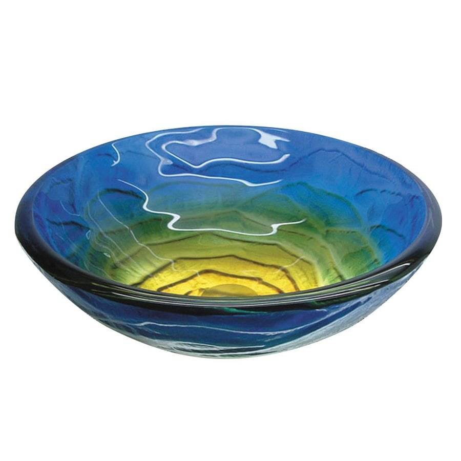 Yosemite Home Decor Blue-Green Polished Glass Vessel Round Bathroom Sink