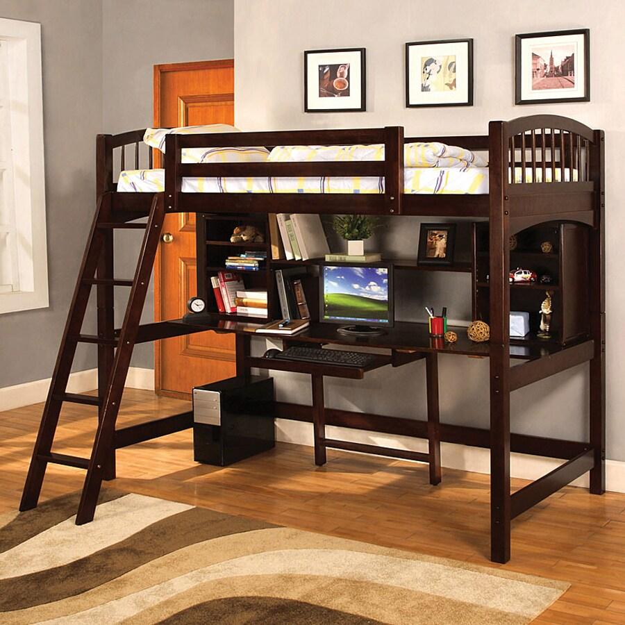 Shop Furniture Of America Hayden Espresso Twin Study Loft