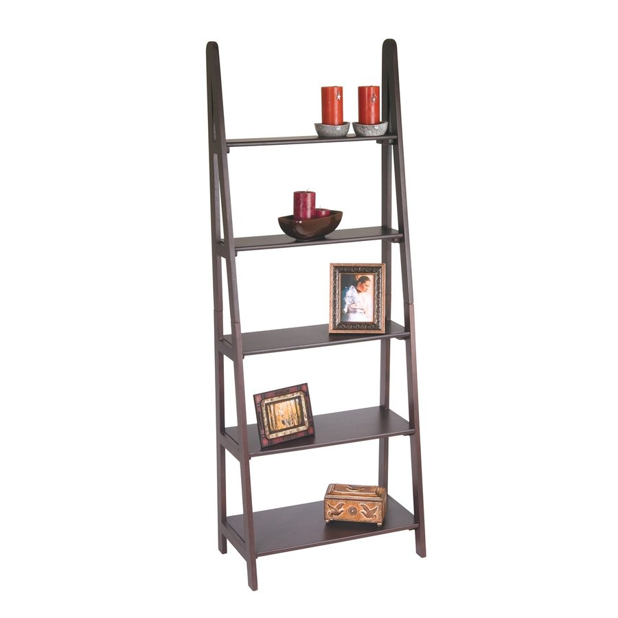 Office Star Osp Designs Espresso 26.5-in W x 72-in H x 14.25-in D 5-Shelf Bookcase