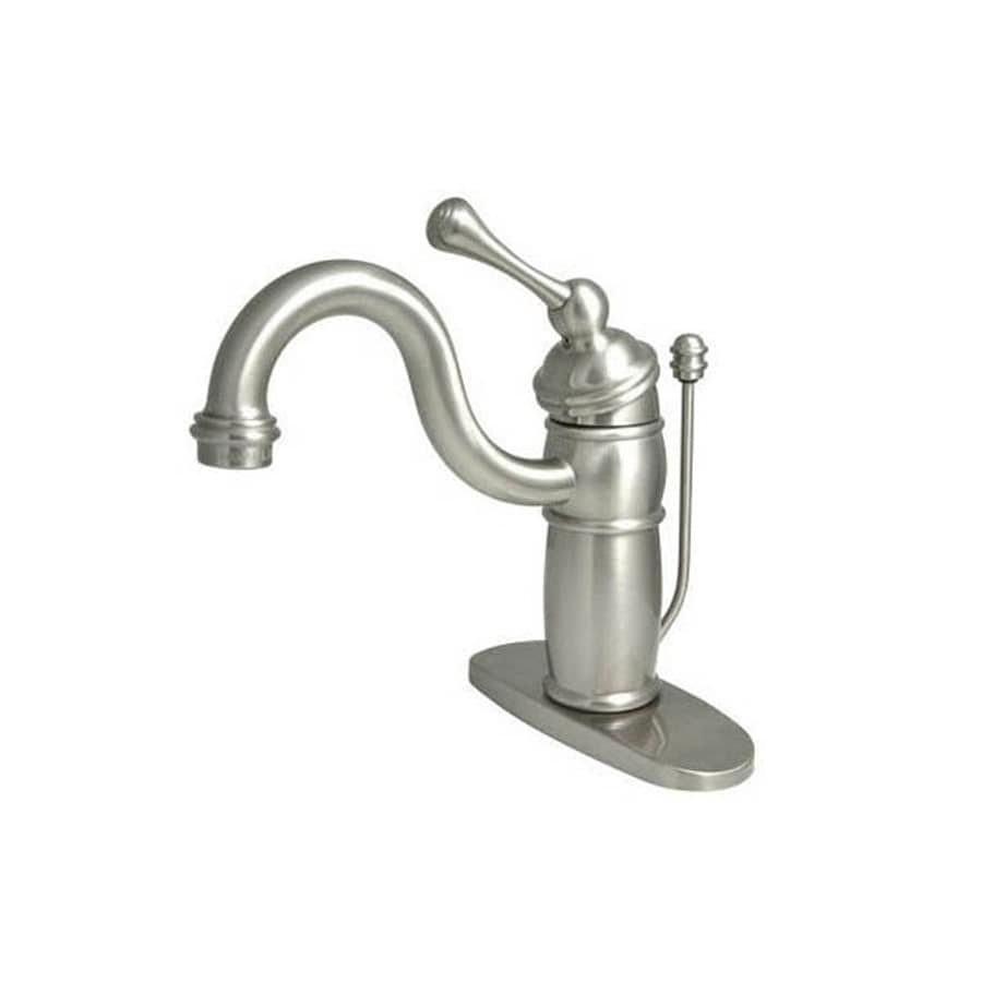 Elements of Design Hot Springs Satin Nickel 1-Handle 4-in Centerset Bathroom Faucet (Drain Included)