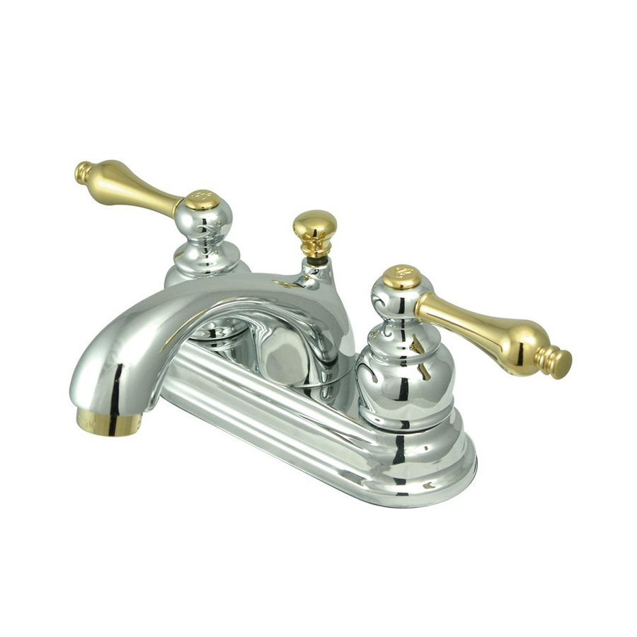Elements of Design St. Regis Polished Chrome/Polished Brass 2-Handle 4-in Centerset Bathroom Faucet (Drain Included)