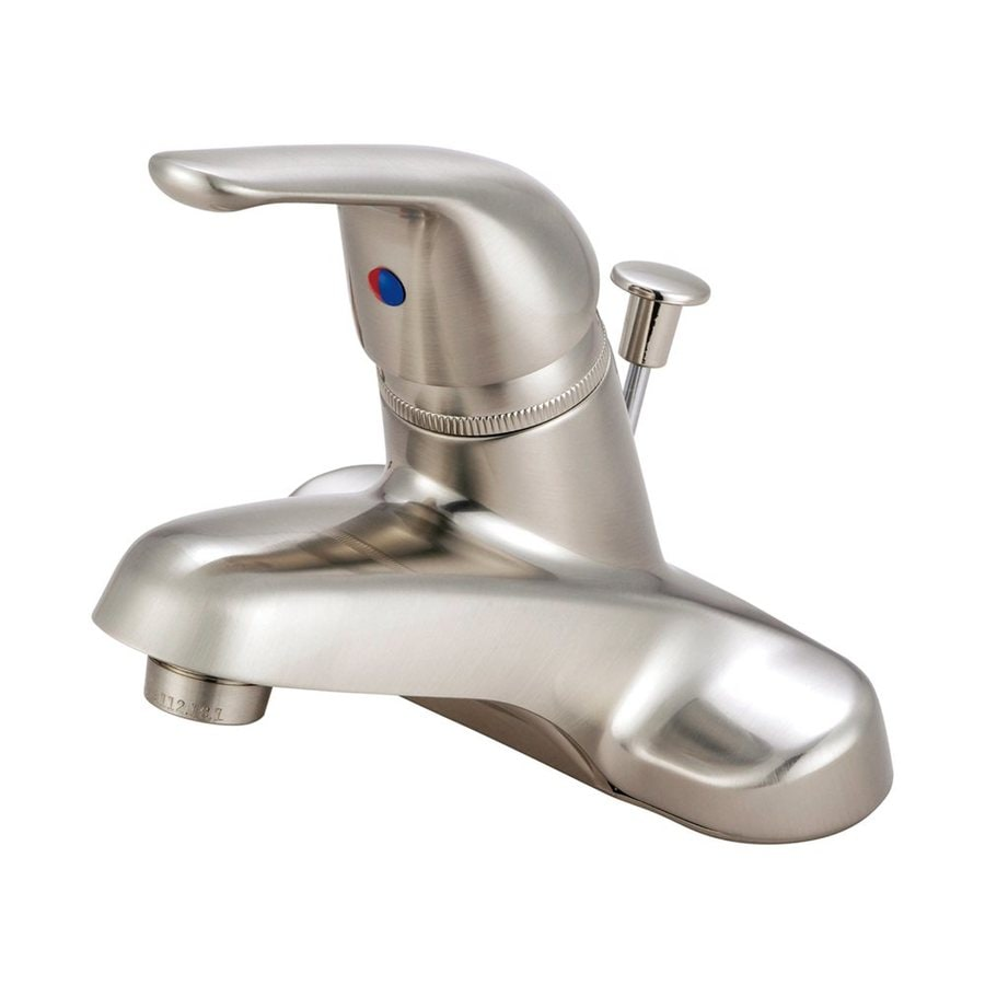 Elements of Design Chatham Satin Nickel 1-Handle 4-in Centerset Bathroom Faucet (Drain Included)