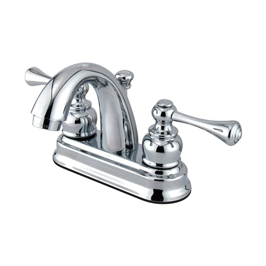 Elements of Design St. Louis Polished Chrome 2-Handle 4-in Centerset Bathroom Faucet (Drain Included)