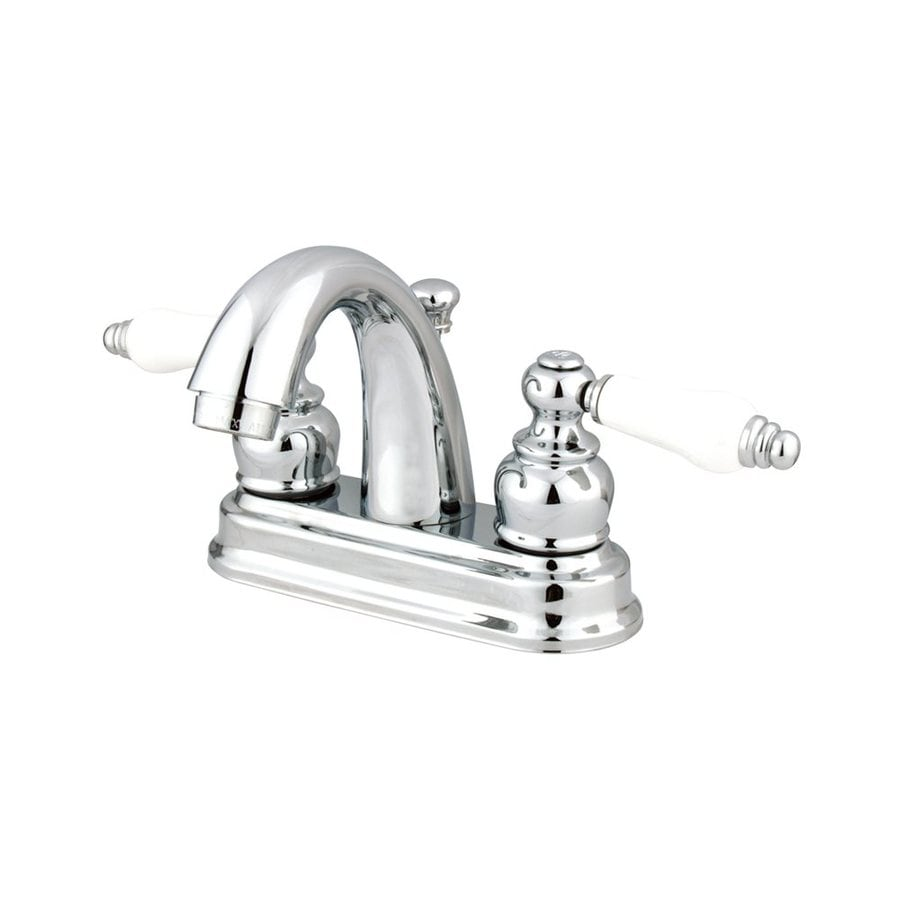 Elements of Design Chicago Polished Chrome 2-Handle 4-in Centerset Bathroom Faucet (Drain Included)