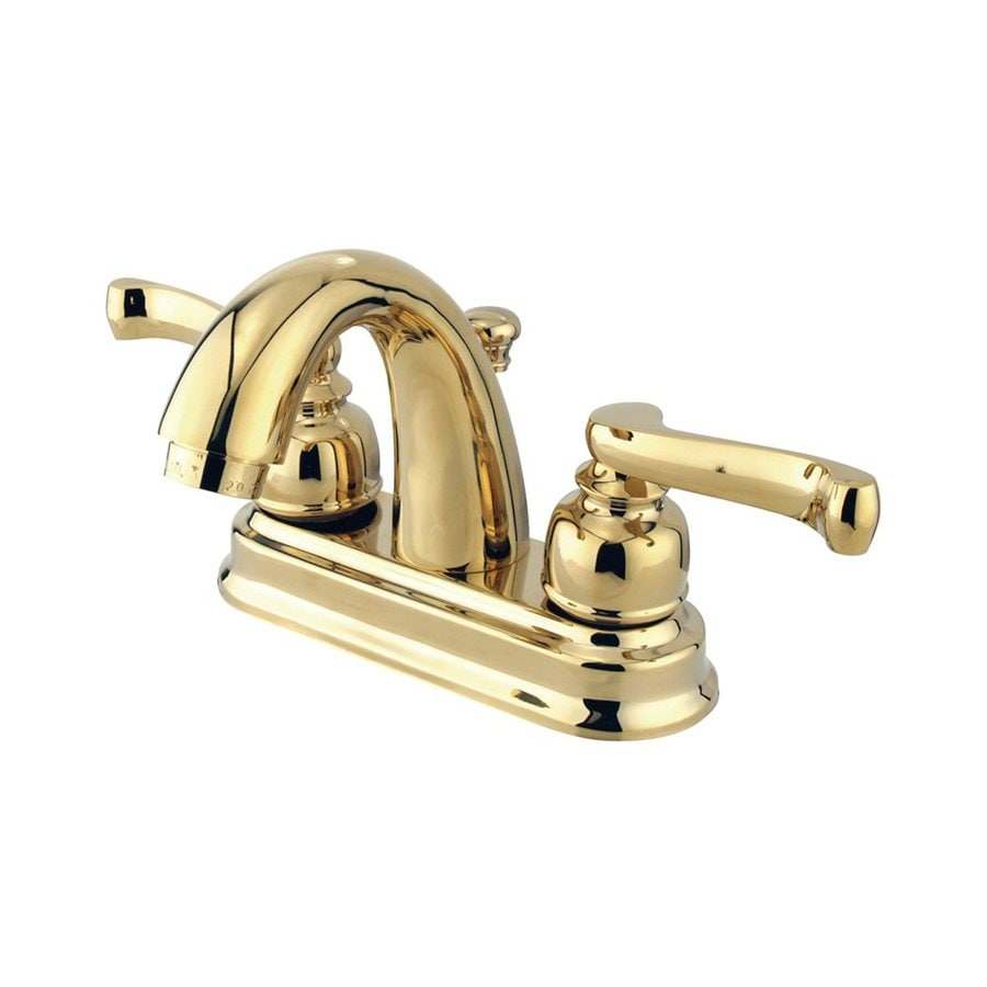 Elements of Design Atlanta Polished Brass 2-Handle 4-in Centerset Bathroom Faucet (Drain Included)