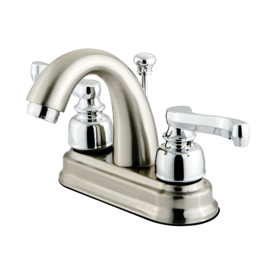 Elements of Design Atlanta Satin Nickel/Polished Chrome 2-Handle 4-in Centerset Bathroom Faucet (Drain Included)