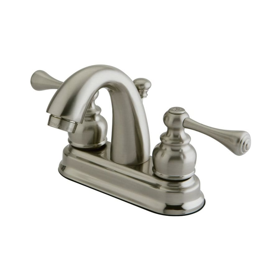 Elements of Design Vintage Satin Nickel 2-Handle 4-in Centerset Bathroom Faucet (Drain Included)