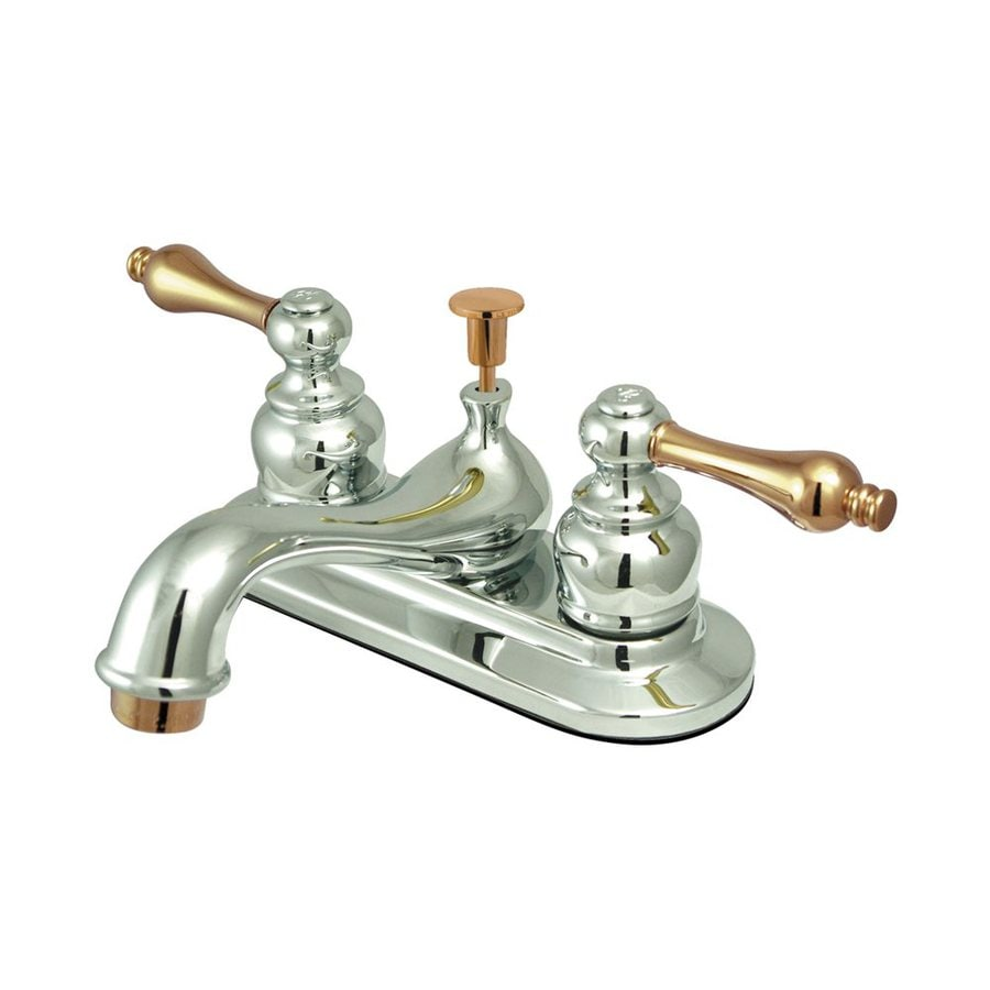 Elements of Design Elizabeth Chrome/Polished Brass 2-Handle 4-in Centerset Bathroom Faucet (Drain Included)