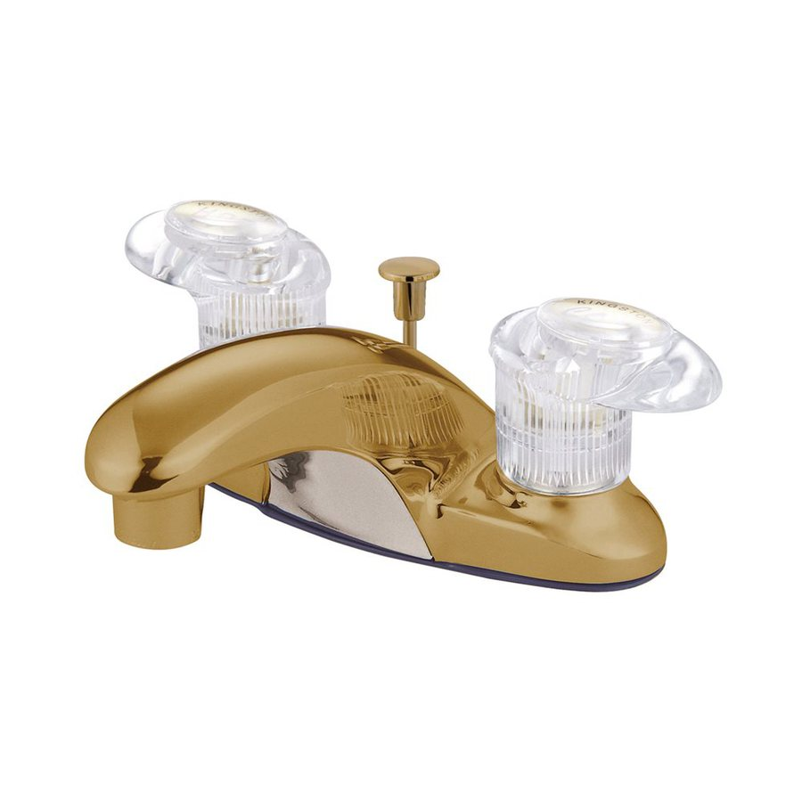 Elements of Design Daytona Polished Brass 2-Handle 4-in Centerset Bathroom Faucet (Drain Included)