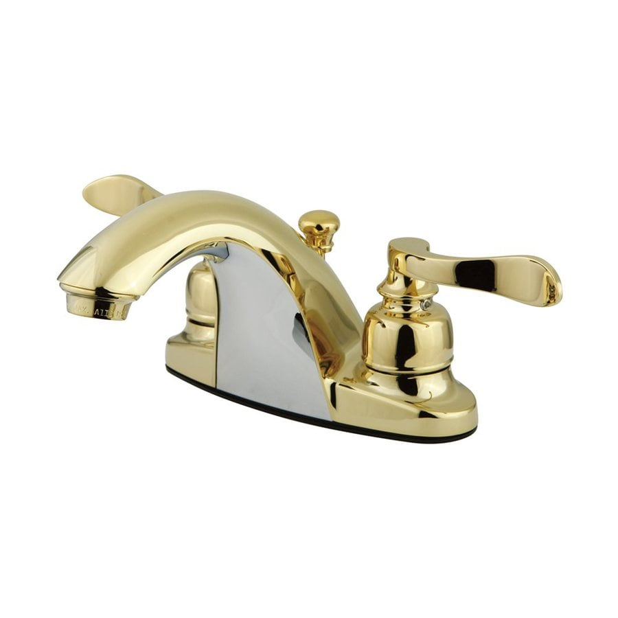 Elements of Design Nuwave French Polished Brass 2-Handle 4-in Centerset Bathroom Faucet (Drain Included)