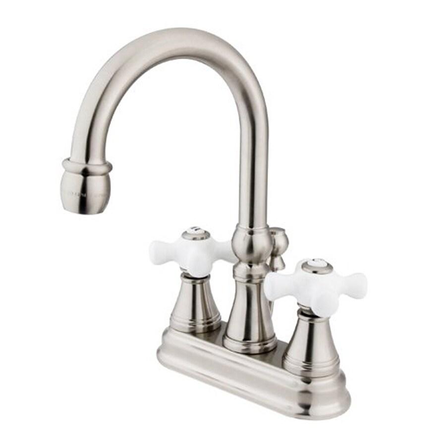Elements of Design Satin Nickel 2-Handle 4-in Centerset Bathroom Faucet (Drain Included)