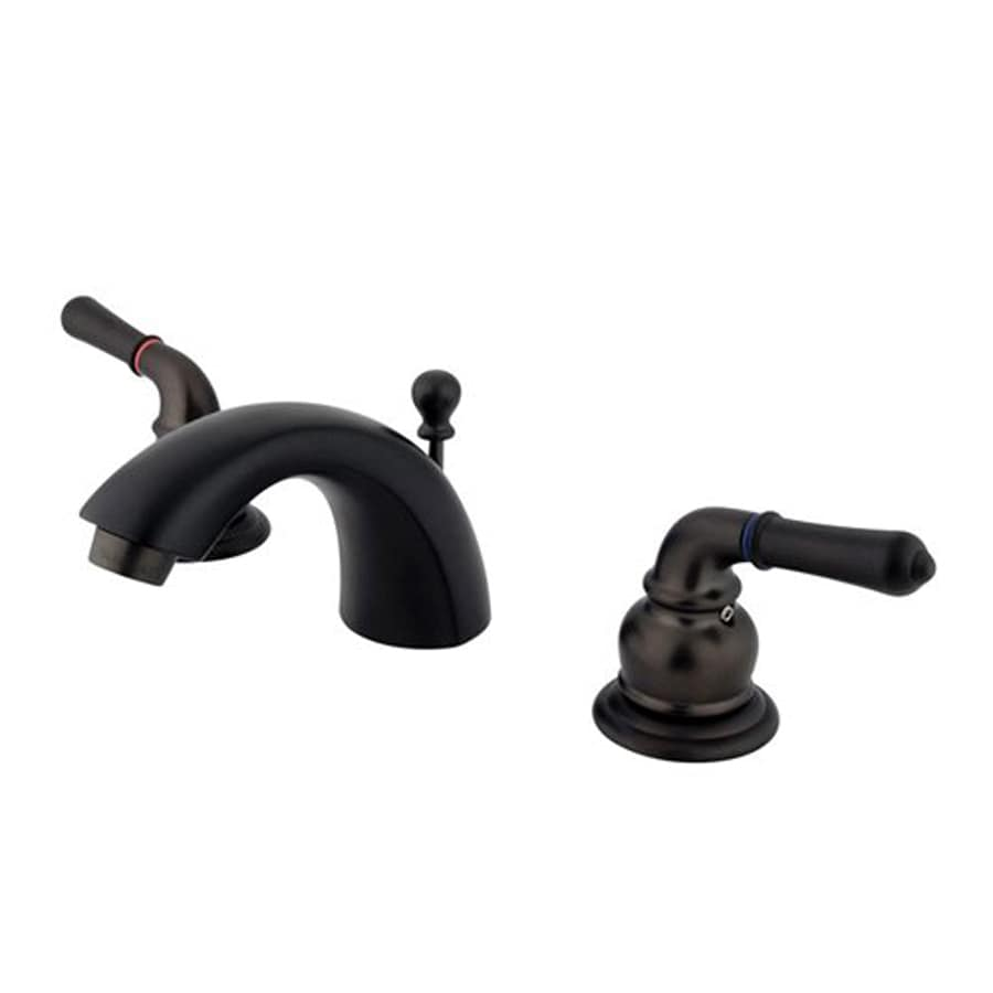 Elements of Design Oil-Rubbed Bronze 2-Handle 4-in Mini Widespread Bathroom Faucet (Drain Included)