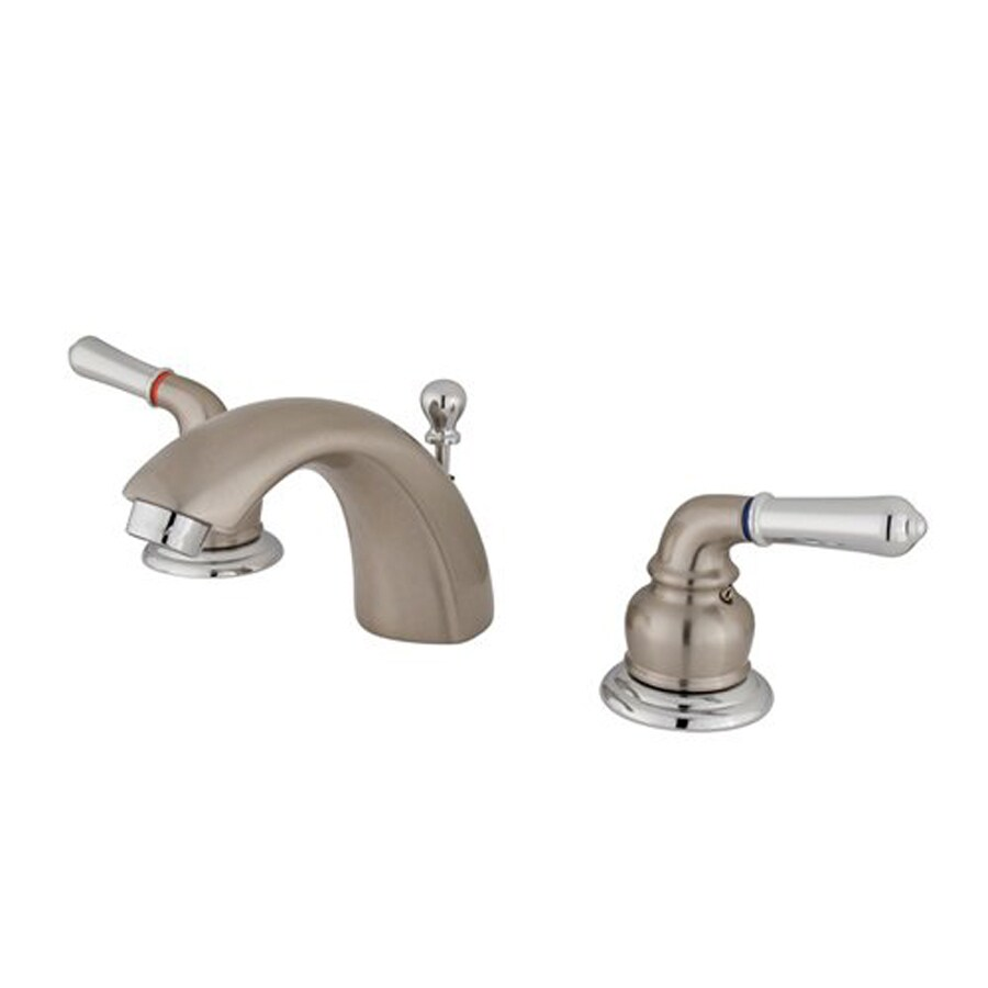 Elements of Design Satin Nickel/Chrome 2-Handle 4-in Mini Widespread Bathroom Faucet (Drain Included)