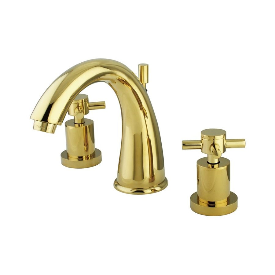 Shop Elements Of Design Nuvo Polished Brass 2 Handle Widespread Bathroom Faucet Drain Included