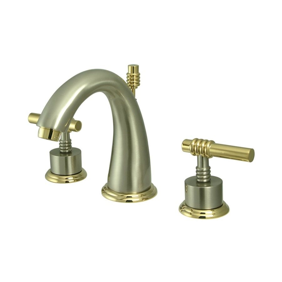 Shop Elements Of Design Satin Nickel Polished Brass 2 Handle Widespread Bathroom Faucet Drain