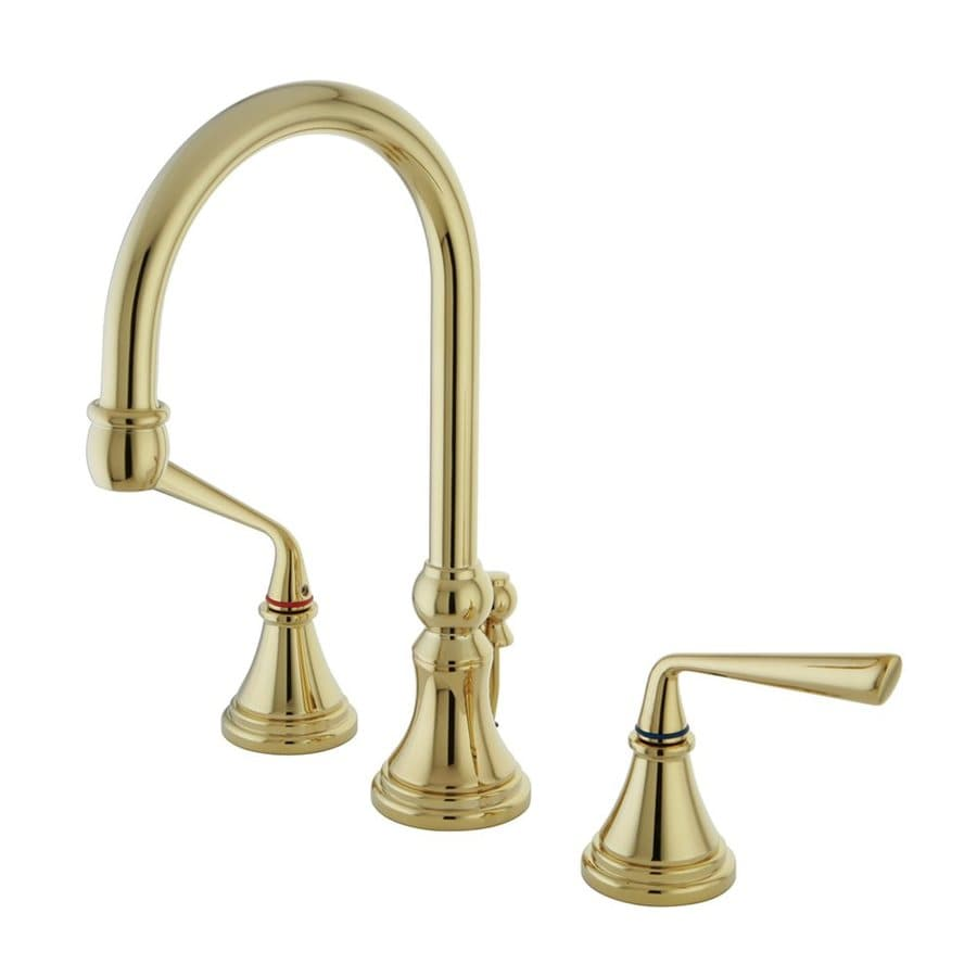 Elements of Design Silver Sage Polished Brass 2-Handle Widespread Bathroom Faucet (Drain Included)