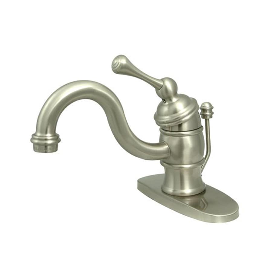 Elements of Design Vintage Satin Nickel 1-Handle 4-in Centerset Bathroom Faucet (Drain Included)