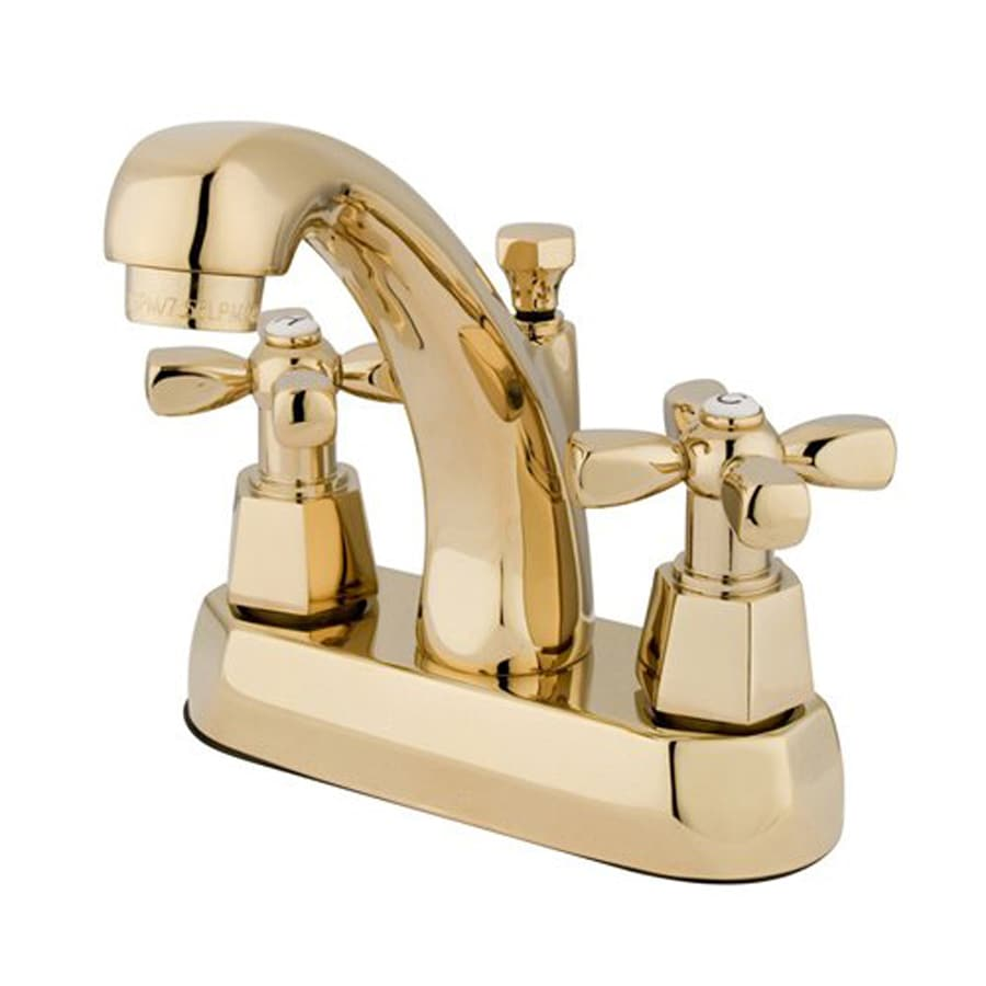Elements of Design Metropolitan Polished Brass 2-Handle 4-in Centerset Bathroom Faucet (Drain Included)