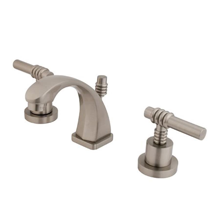 Shop Elements Of Design Milano Satin Nickel 2 Handle 4 In Mini Widespread Bathroom Faucet Drain