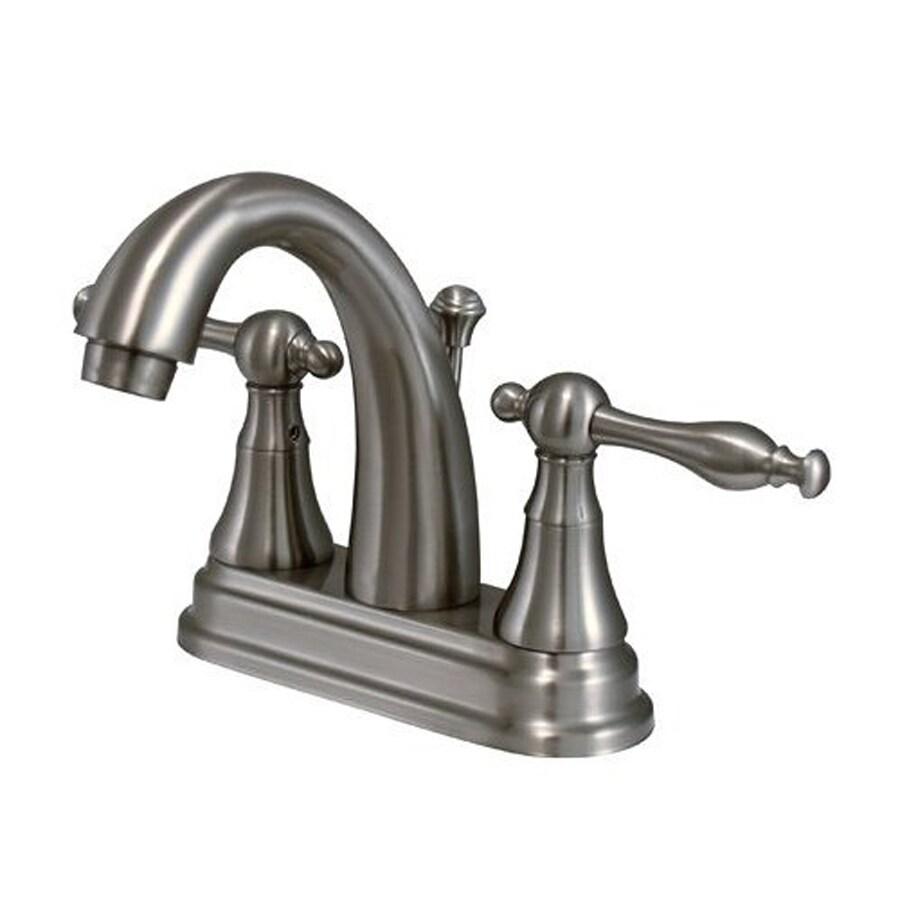 Elements of Design Normandy Satin Nickel 2-Handle 4-in Centerset Bathroom Faucet (Drain Included)