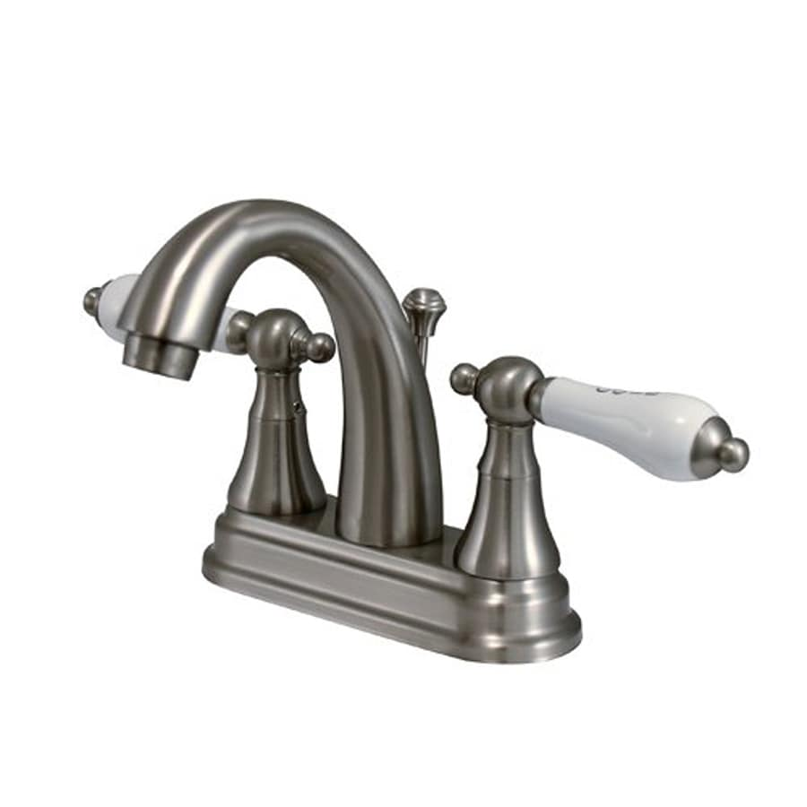 Elements of Design Elizabeth Satin Nickel 2-Handle 4-in Centerset Bathroom Faucet (Drain Included)