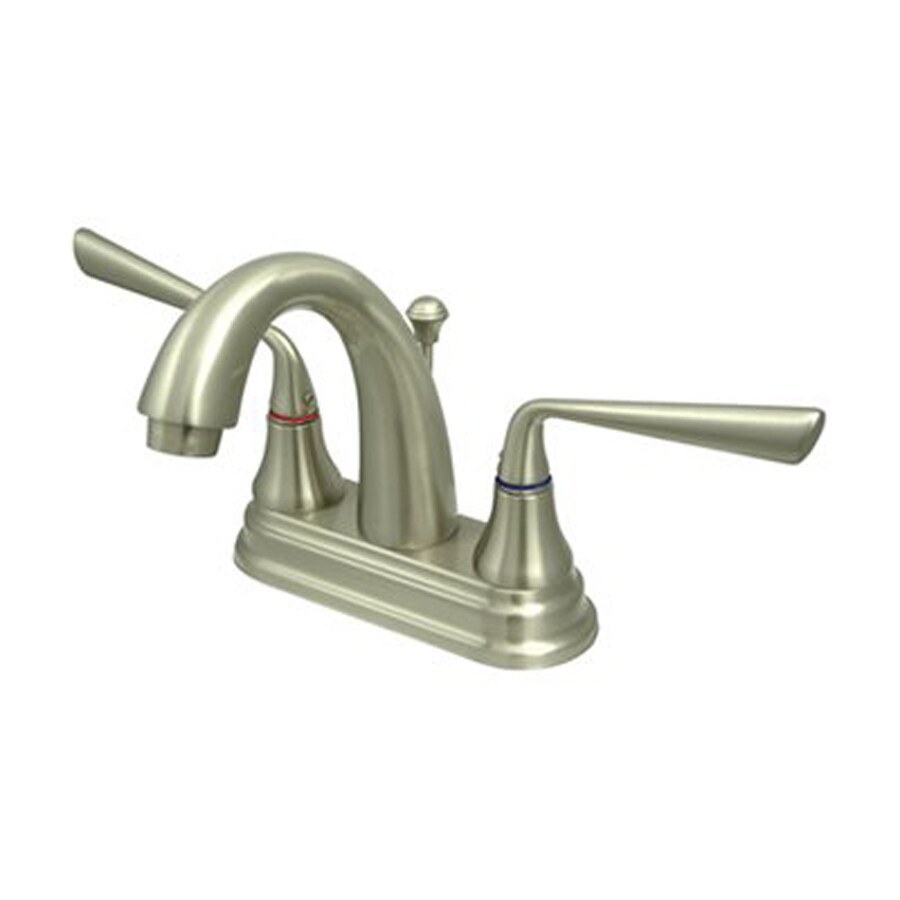 Elements of Design Silver Sage Satin Nickel 2-Handle 4-in Centerset Bathroom Faucet (Drain Included)