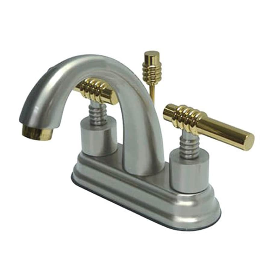 Elements of Design Chrome/Polished Brass 2-Handle 4-in Centerset Bathroom Faucet (Drain Included)
