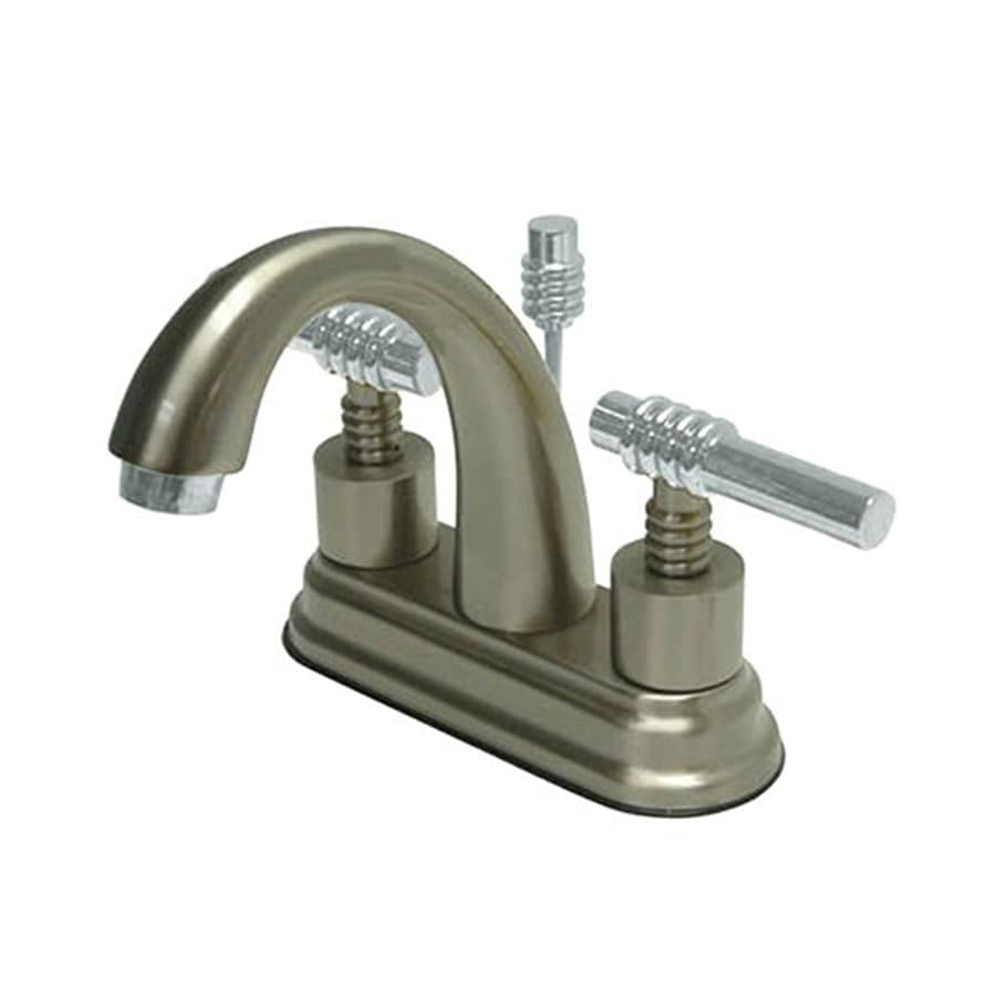 Elements of Design Satin Nickel/Chrome 2-Handle 4-in Centerset Bathroom Faucet (Drain Included)