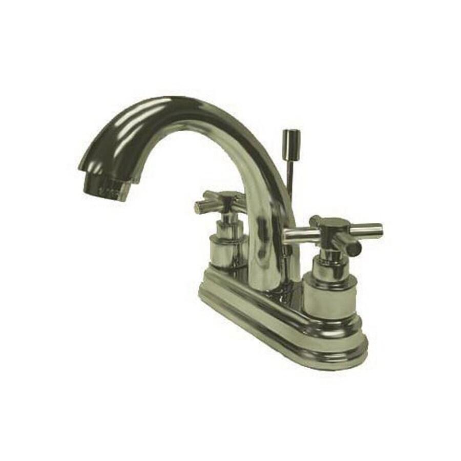 Elements of Design Tampa Satin Nickel 2-Handle 4-in Centerset Bathroom Faucet (Drain Included)