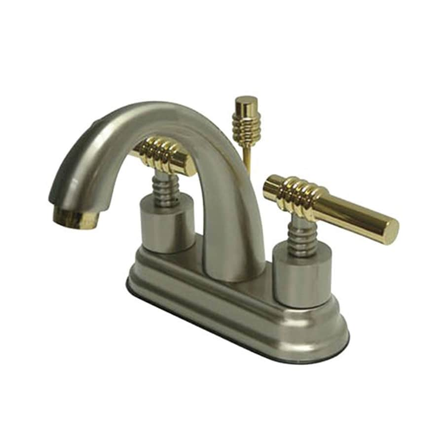 Elements of Design Satin Nickel/Polished Brass 2-Handle 4-in Centerset Bathroom Faucet (Drain Included)