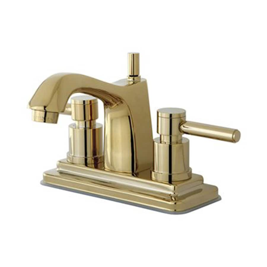 Elements of Design Concord Polished Brass 2-Handle 4-in Centerset Bathroom Faucet (Drain Included)