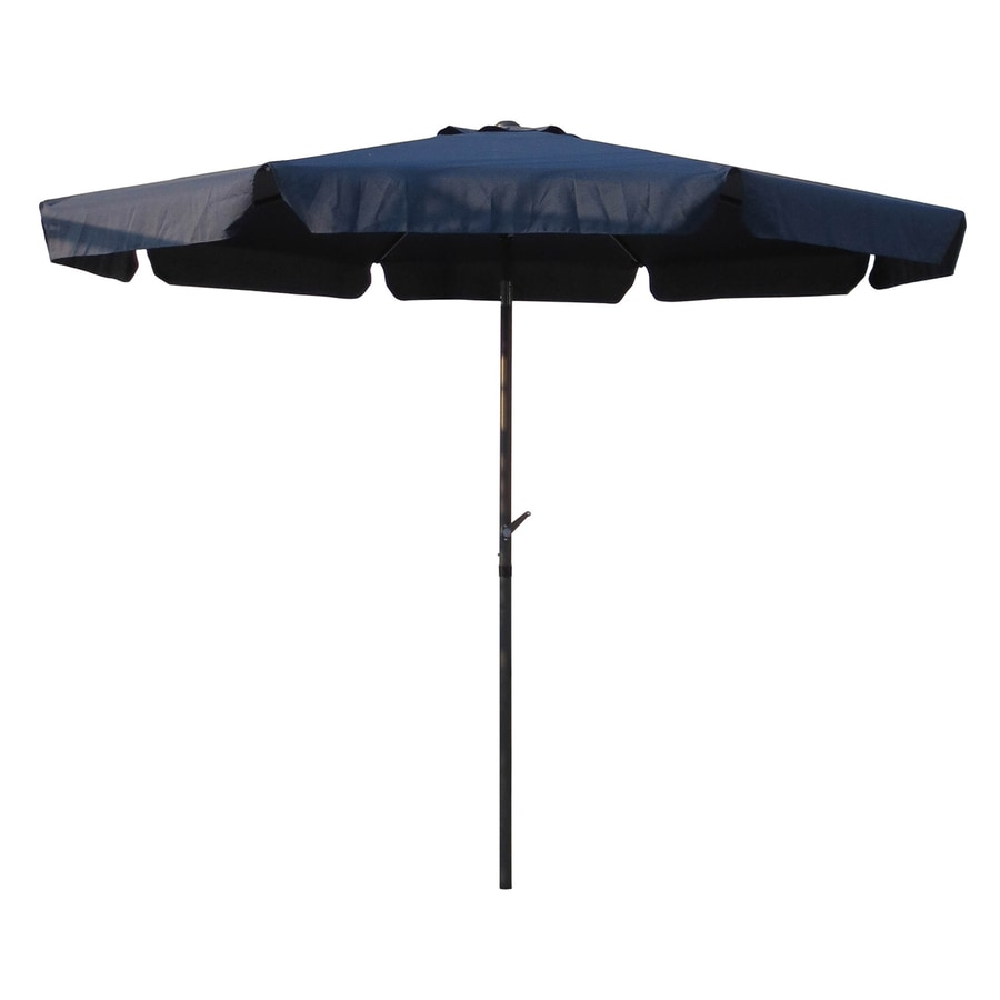 International Caravan Navy Market Patio Umbrella (Common: 10-ft W x 10-ft L; Actual: 9.83-ft W x 9.83-ft L)