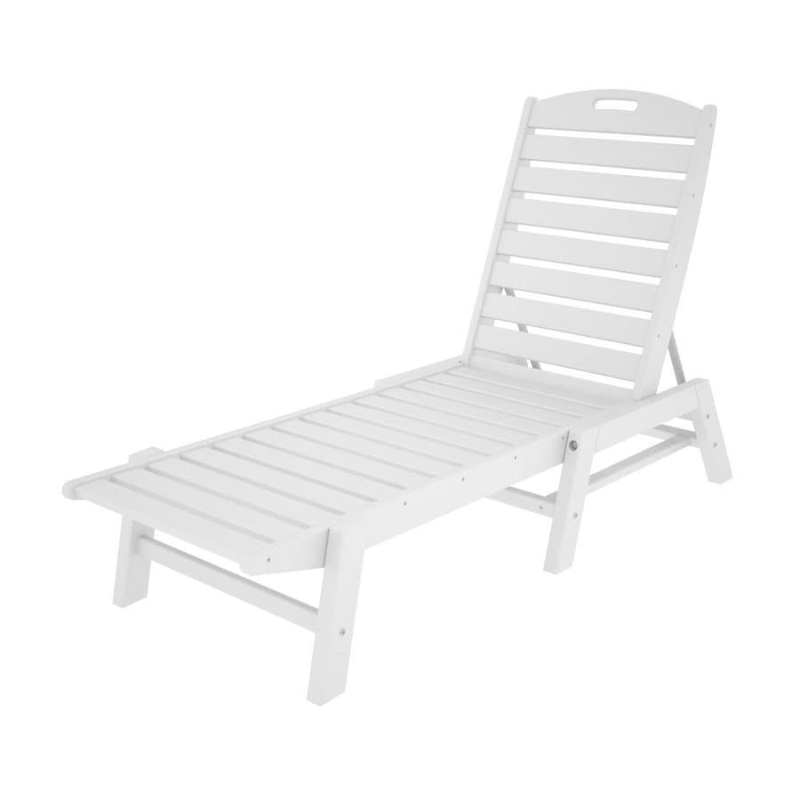 POLYWOOD Nautical White Plastic Stackable Patio Chaise Lounge Chair