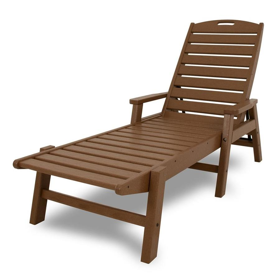 POLYWOOD Nautical Teak Plastic Patio Chaise Lounge Chair