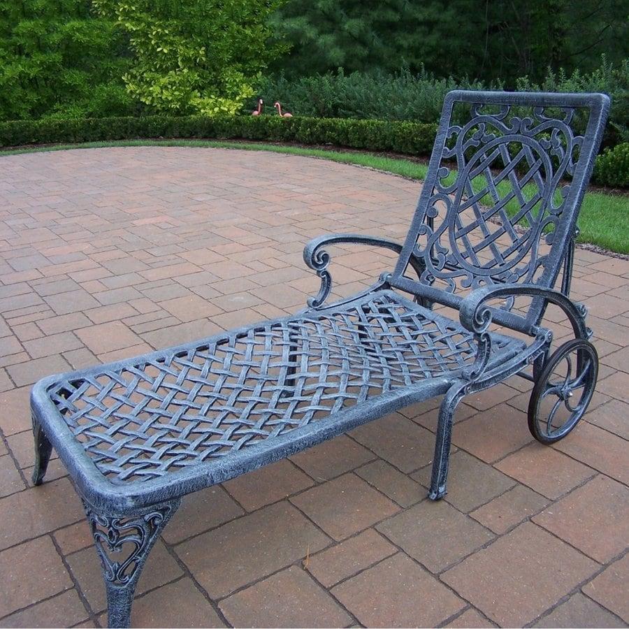 Oakland Living Mississippi Verdi Grey Aluminum Patio Chaise Lounge Chair