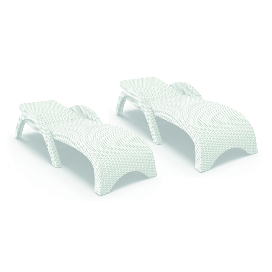 Shop compamia miami wickerlook 2 count white resin stackable patio chaise lounge chair at - White resin stacking chairs ...