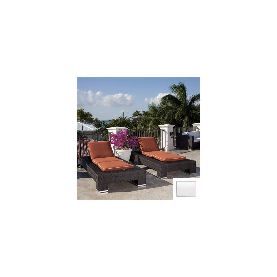 Source Outdoor Set of 2 King Aluminum Patio Chaise Lounges with White Cushions