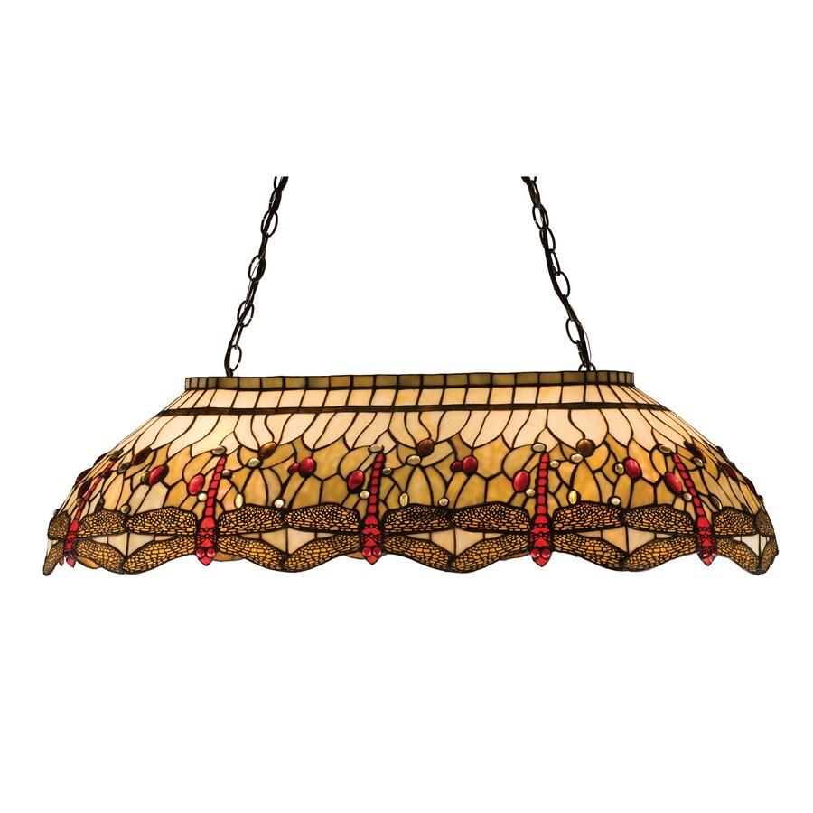 Meyda Tiffany Scarlet Dragonfly 20.5-in W 6-Light Mahogany Bronze Kitchen Island Light with Tiffany-Style Shade