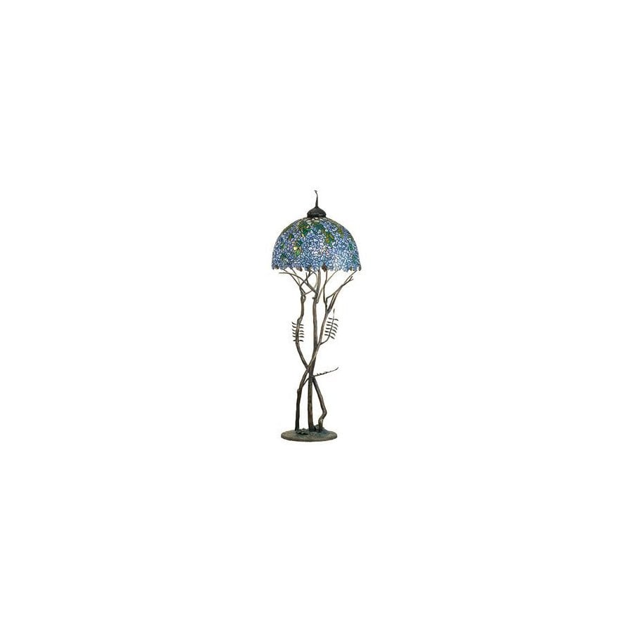 Meyda Tiffany 74-in Antique Patina Tiffany-Style Floor Lamp with Glass Shade