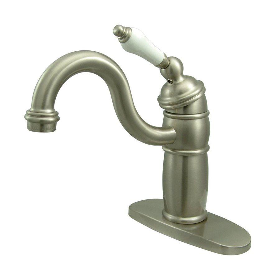 Elements of Design Hot Springs Satin Nickel 1-Porcelain Handle Bar and Prep Faucet