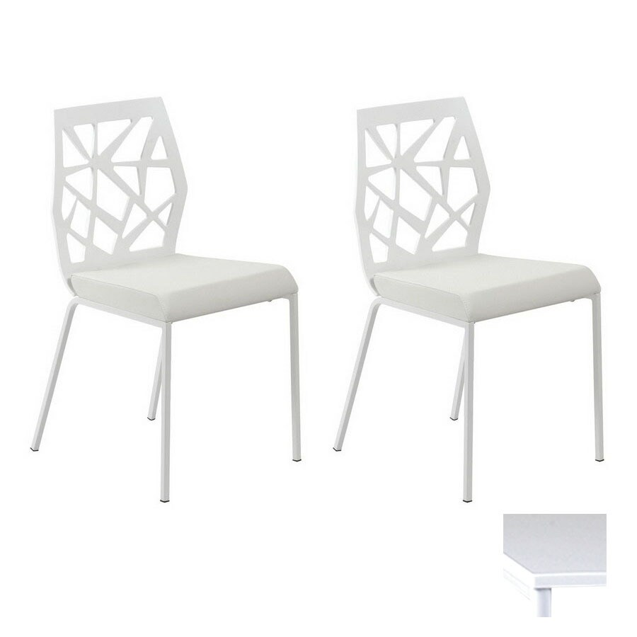 Eurostyle Set of 2 Sophia White Stackable Side Chairs