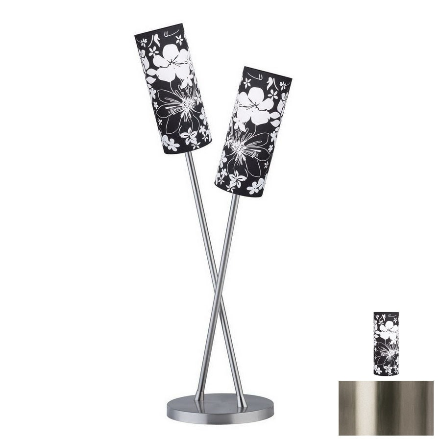 Paulmann 32-3/8-in Brushed Nickel Table Lamp with Fabric Shade