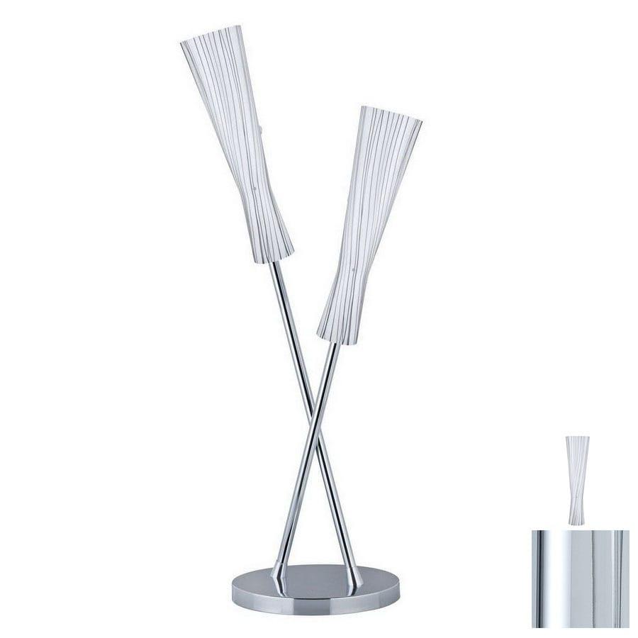 Paulmann 39-1/8-in Chrome Table Lamp with Glass Shade