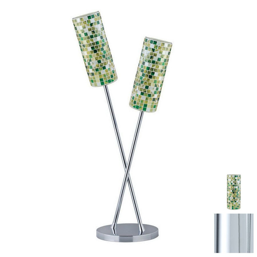 Paulmann 32-3/8-in Chrome Table Lamp with Glass Shade