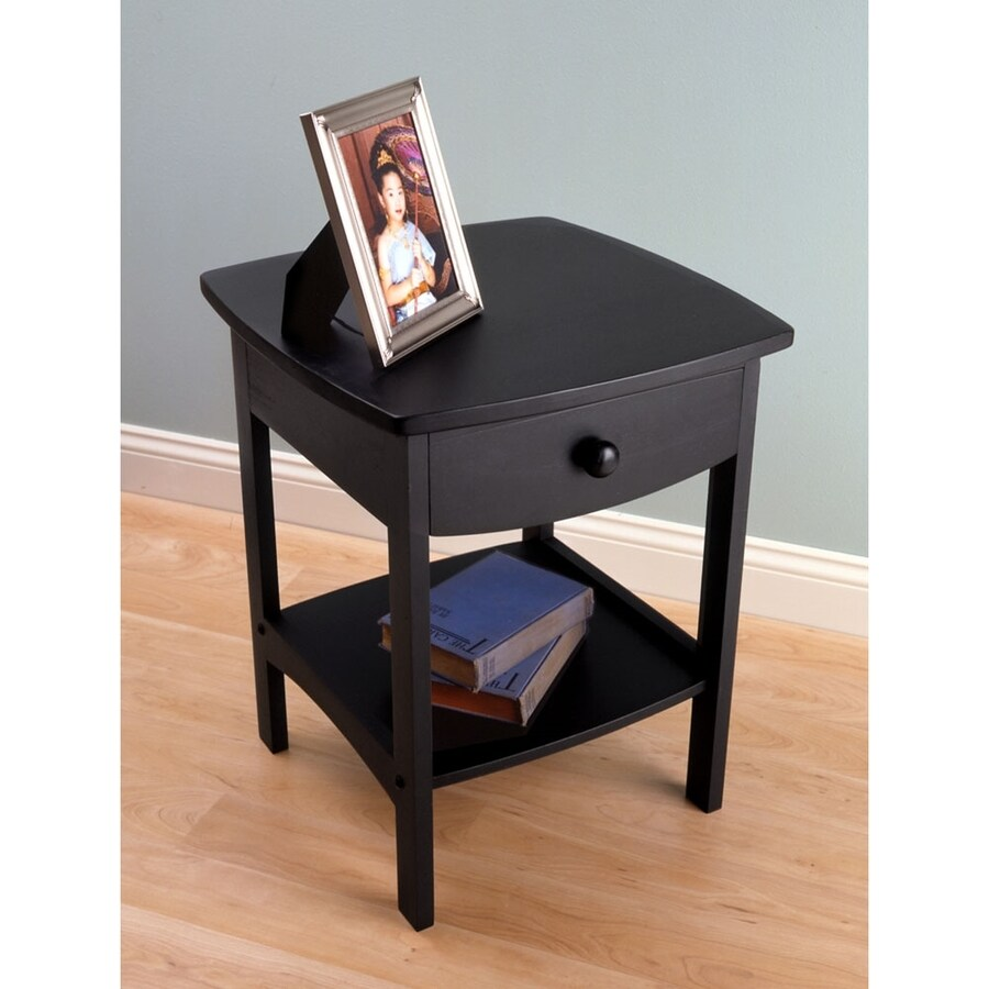 Shop winsome wood black composite square end table at for Black wood end tables
